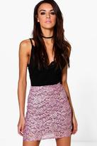 Boohoo Eve Metallic Lace Contrast Mini Skirt