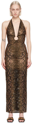 Versace Black and Brown Python Print Evening Dress