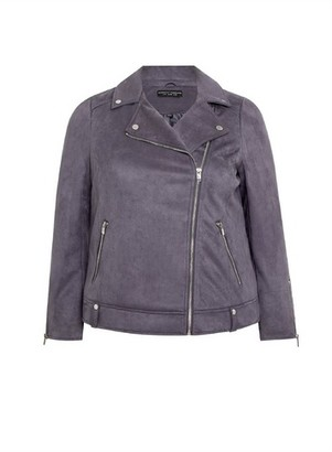 Dorothy Perkins Womens **Dp Curve Grey Suedette Biker Jacket, Grey