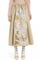 Fendi Women's Floral Stencil Cotton Canvas Ball Skirt