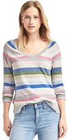 Gap Crazy stripe soft V-neck sweater