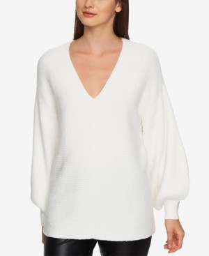 1 STATE V-Neck Bubble-Sleeve Sweater