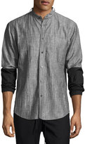 Public School Zuka Wrinkled Combo Shirt, Black/White