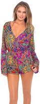 Luli Fama Gipsy Soul Wrap Front Long Sleeve Romper in Multicolor (L45794L)