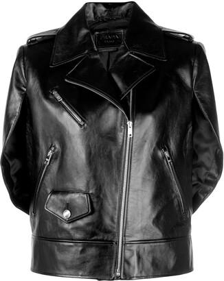 Prada Slit Cape Sleeve Biker Jacket