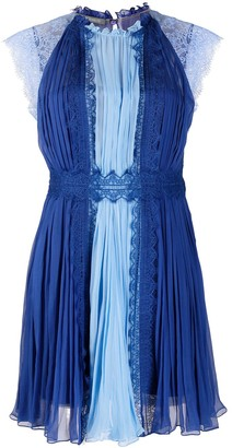 Alberta Ferretti Two-Tone Pleated Silk Dress
