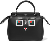 Fendi Dotcom Petite Embellished Leather Shoulder Bag - Black