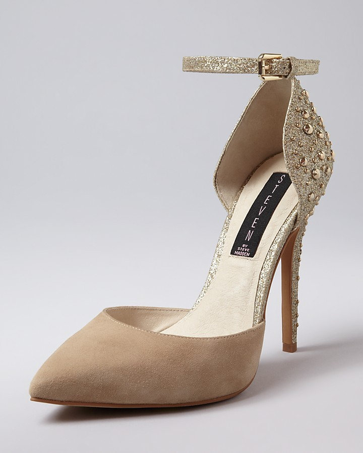Steve Madden STEVEN BY Ankle Strap Pumps - Triumph Studded