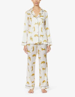 Yolke Cheetah-print silk-satin pyjama set