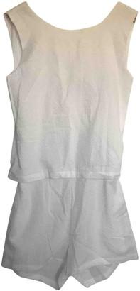 Solid & Striped White Cotton Swimwear for Women