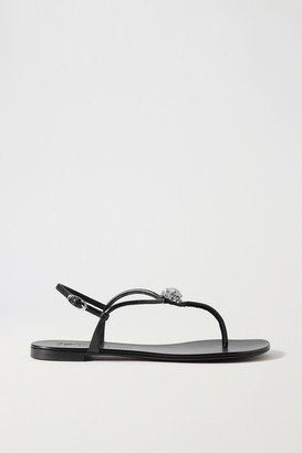 Giuseppe Zanotti Crystal-embellished Leather Sandals - Black