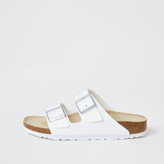 River Island Birkenstock white Arizona sandals