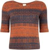 Studio Myr One-Of-A-Kind Three-Quarter Sleeve Knitted Cotton Jumper Denim Indigo With Bronze