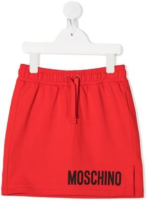 MOSCHINO BAMBINO Logo Print Drawstring Skirt