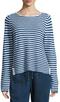 Eileen Fisher Long-Sleeve Striped Top, Denim/White, Plus Size