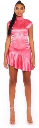 Public Desire Uk Jacquard Oriental High Neck Mini Dress
