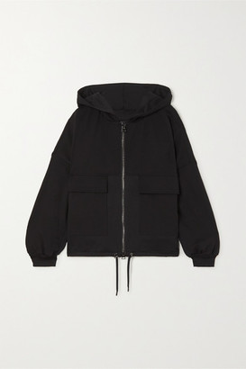 Tom Ford Hooded Paneled Jersey, Satin And Pique Track Jacket - Black