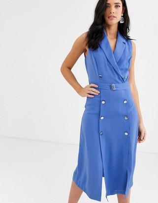 Liquorish double breasted blazer midi dress in blue