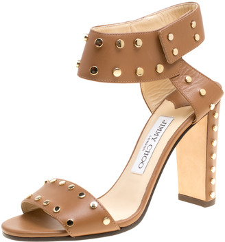 Jimmy Choo Brown Studded Leather Veto Ankle Strap Open Toe Sandals Size 36.5