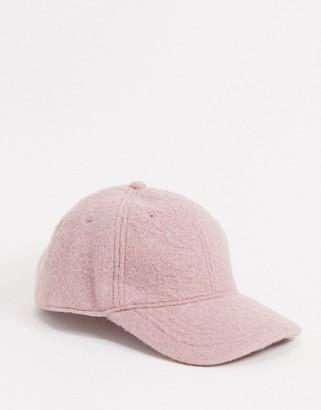 ASOS DESIGN textured baseball cap in dusky pink