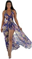 Janeyer® Janeyer Womens Sexy Halter Deep V Neck Floral Chiffon Jumpsuit Romper Pant Dress S