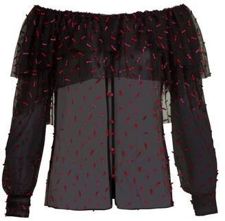 Rodarte Off-the-shoulder Tulle Blouse - Black Multi