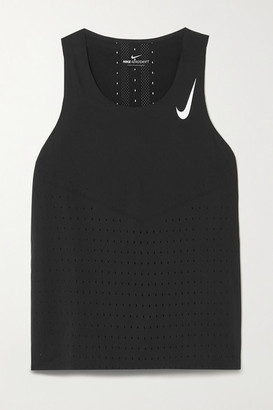 Nike Aeroswift Perforated Stretch-jersey Tank - Black