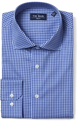 The Tie Bar Two Tone Gingham Classic Blue Non-Iron Shirt
