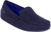 Totes Suedette Moccasin Slippers, Navy