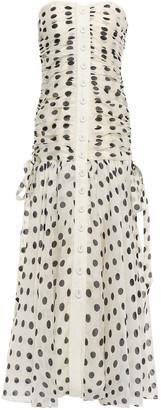 Zimmermann Strapless Polka-dot Linen And Silk-blend Maxi Dress