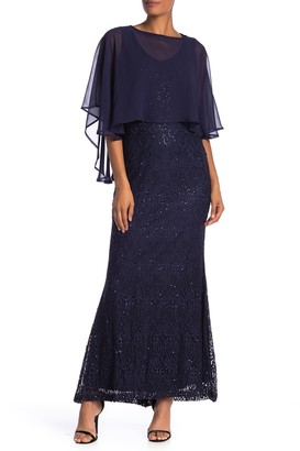 Marina Sheer Cape Lace Knit Sequin Dress
