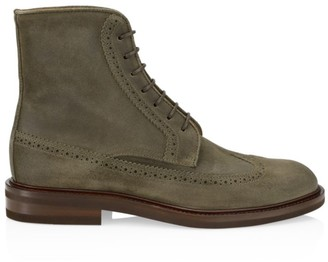 Brunello Cucinelli Wingtip Suede Lace-Up Boots