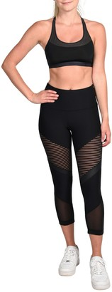 90 Degree By Reflex High Waist Mesh Capri Leggings