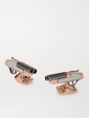 Deakin & Francis Rhodium- and Rose Gold-Plated Sterling Silver Cufflinks - Men - Gold