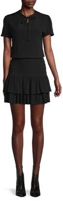 Maje Short-Sleeve Smocked Dress