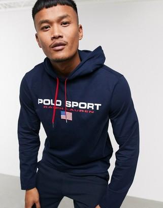 Polo Ralph Lauren Sport Capsule chest flag logo hooded long sleeve top in navy