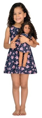 Pink Butterfly Closet Girl & Doll Matching Dress Blue Fits American Girl & 18 inches dolls - Size 8
