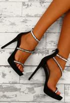 Pink Boutique Lavish Pursuit Black Faux Suede Embellished Platform Heels