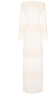 Blumarine Long Colorblocked Lace Dress