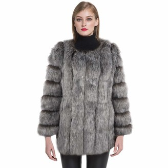 Jancoco Max Faux Fur Coat - Women Winter Thick Warm Fur Jacket Solid Luxury Casual Fake Fur Outerwear Silver