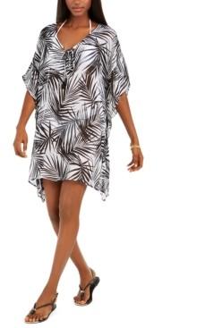Dotti Paradise Palms Flutter-Sleeve Caftan Cover-Up Women's Swimsuit