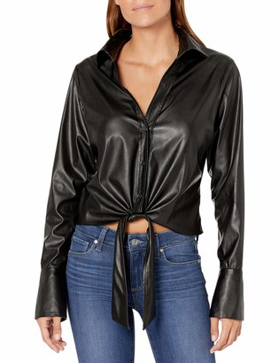 Ramy Brook Women's Wylder Faux Leather Button Down Top