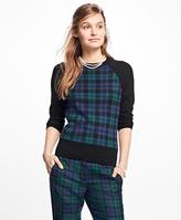 Brooks Brothers Merino Wool Black Watch Raglan Sweater