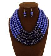GBLXF Gold Chain Resin Beads Multi layer Nigerian Wedding African Beads Necklace and Earring Set