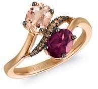 LeVian Le Vian Chocolatier Chocolate Diamonds, Peach Morganite, Raspberry Rhodolite and 14K Strawberry Gold Ring