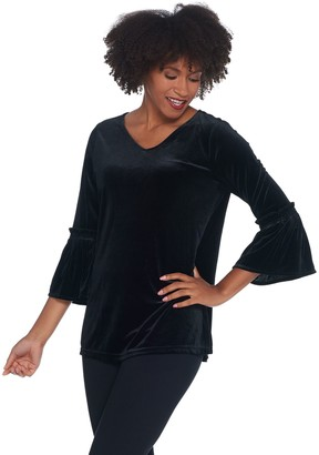 Belle By Kim Gravel Velvet V-Neck Ruffle Sleeve Top