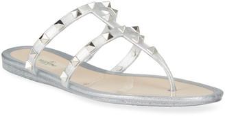 Valentino Rockstud Glitter Jelly Flat Slide Sandals