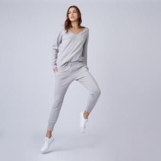DSTLD Cashmere V-Neck Sweater in Stone