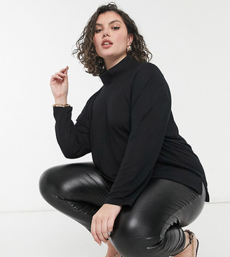 ASOS DESIGN Curve oversized top in drapey rib with structured high neck in black