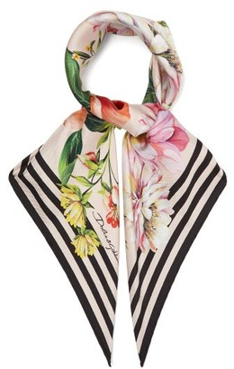 Dolce & Gabbana Floral-print Silk-faille Scarf - Womens - Pink Multi